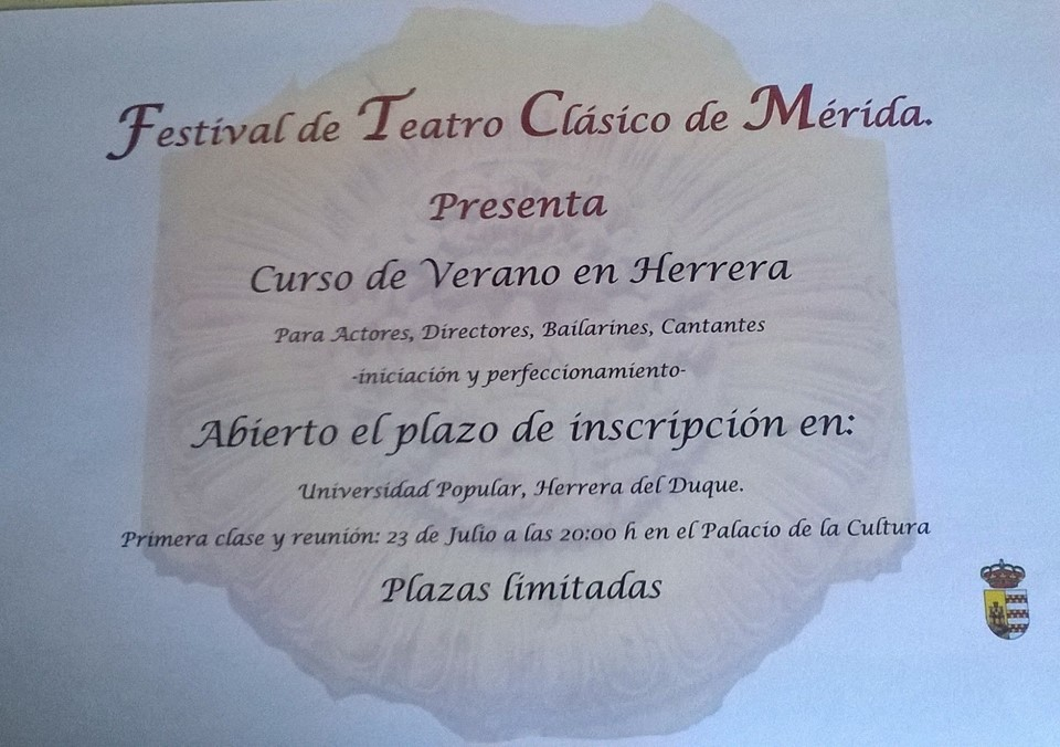 La Universidad Popular organiza un curso de verano del Festival de Teatro Clásico de Mérida
